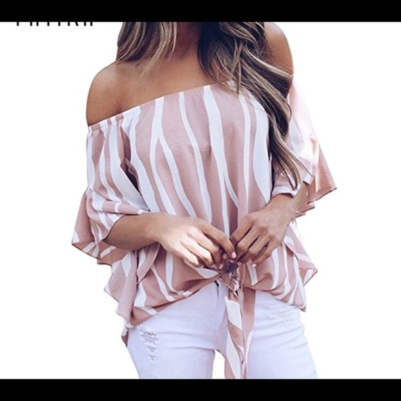 8754351f44a31 ALYSSA❣️5 ⭐️RATED ❤ Striped Off Shoulder Blouse